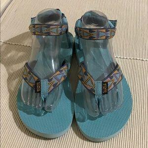 Teva Thong Ankle Strap Multi Color Sandals EUC